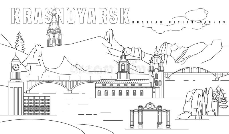Krasnoyarsk main attractions. Russian city. Editable vector illustration in black color on a white background. Travelling, geography and architecture concept stock illustration