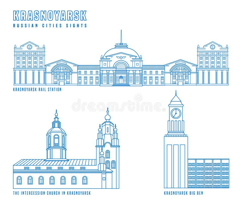 Krasnoyarsk main attractions vector illustration