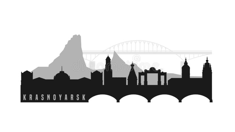 Krasnoyarsk main attractions. Russian city view. Editable vector illustration in grey color isolated on white background. Travelling, geography and royalty free illustration