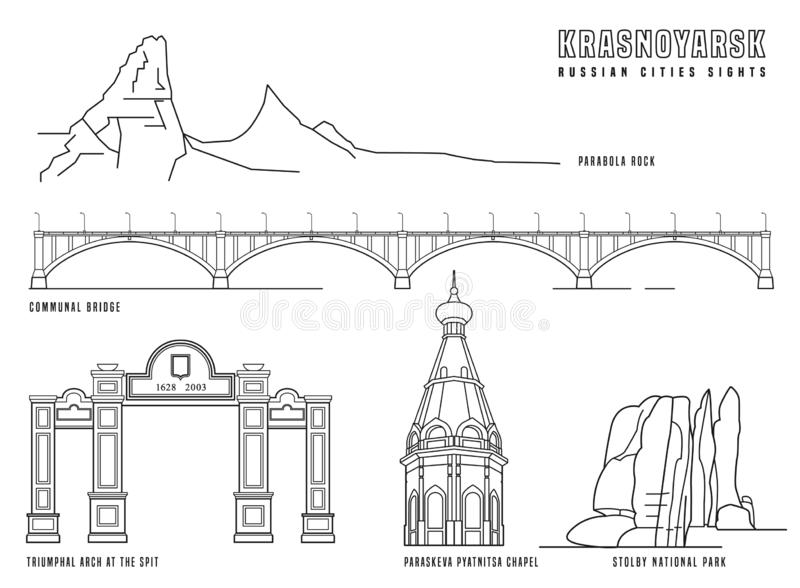 Krasnoyarsk main attractions. Russian city. Editable vector illustration in black color isolated on a white background. Travelling, geography and architecture vector illustration