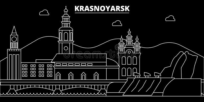 Krasnoyarsk silhouette skyline. Russia - Krasnoyarsk vector city, russian linear architecture, buildings. Krasnoyarsk royalty free illustration