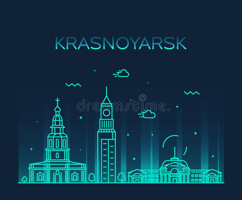 Krasnoyarsk skyline Krai Russia vector line style stock illustration