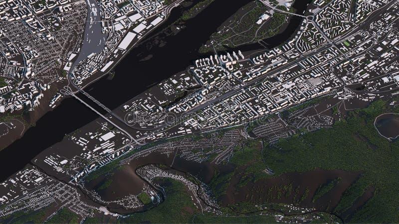 Krasnoyarsk ?versikt i isometriska v?gar och byggnader f?r landskap 3d stock illustrationer