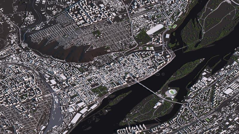 Krasnoyarsk ?versikt i isometriska v?gar och byggnader f?r landskap 3d vektor illustrationer