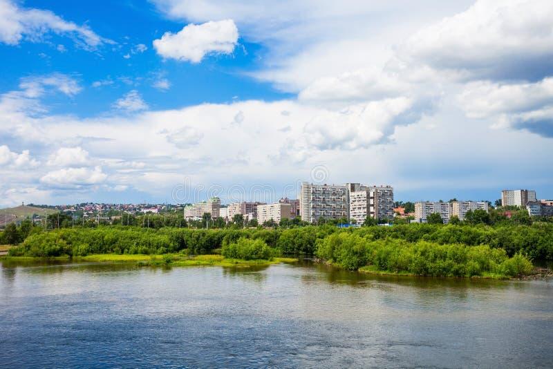 Krasnoyarskstad op Yenisey royalty-vrije stock afbeelding