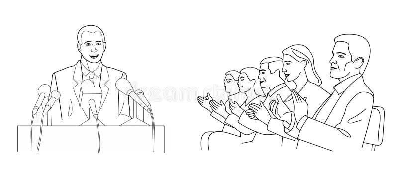 Krasomówca stojaki za podium z mikrofonami Mówca robi raportowi społeczeństwo Czarna wektorowa ilustracja odizolowywająca na biel royalty ilustracja