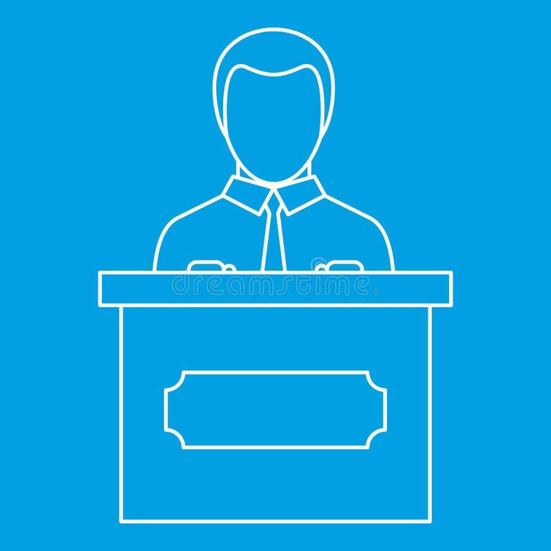 Krasomówcy mówienie od trybuny ikony, konturu styl royalty ilustracja