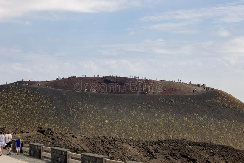 Krater av Etna i Sicilien 08/08/2018 fotografering för bildbyråer