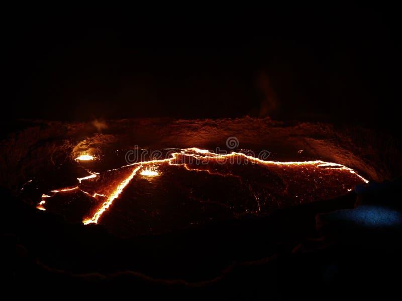 Krater för Erta ölvulkan, smältande lava, Danakil fördjupning, Etiopien fotografering för bildbyråer