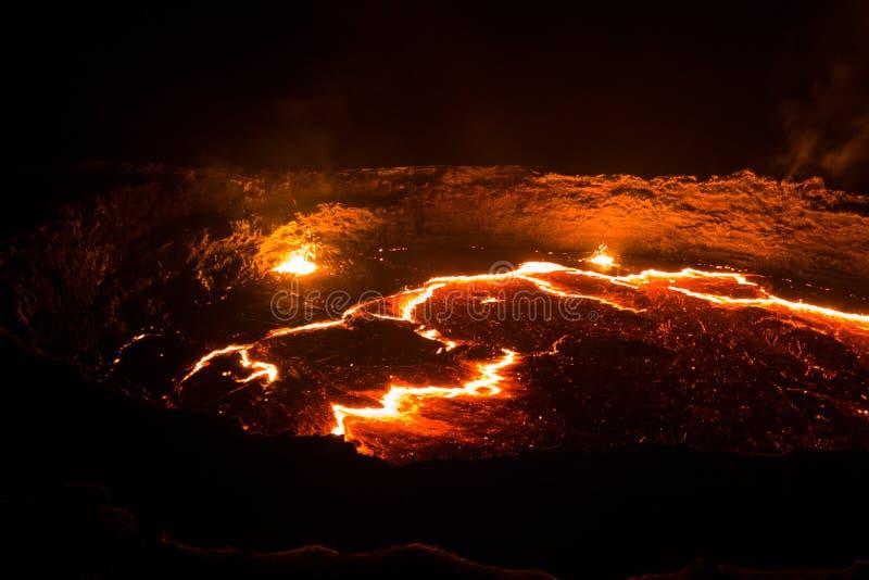 Krater för vulkan för panoramaErta öl, smältande lava, Danakil fördjupning, Etiopien royaltyfria foton
