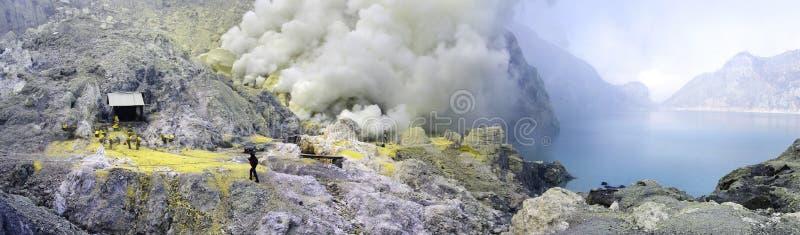 krater ijen jeziornego sulphatic wulkan obrazy stock