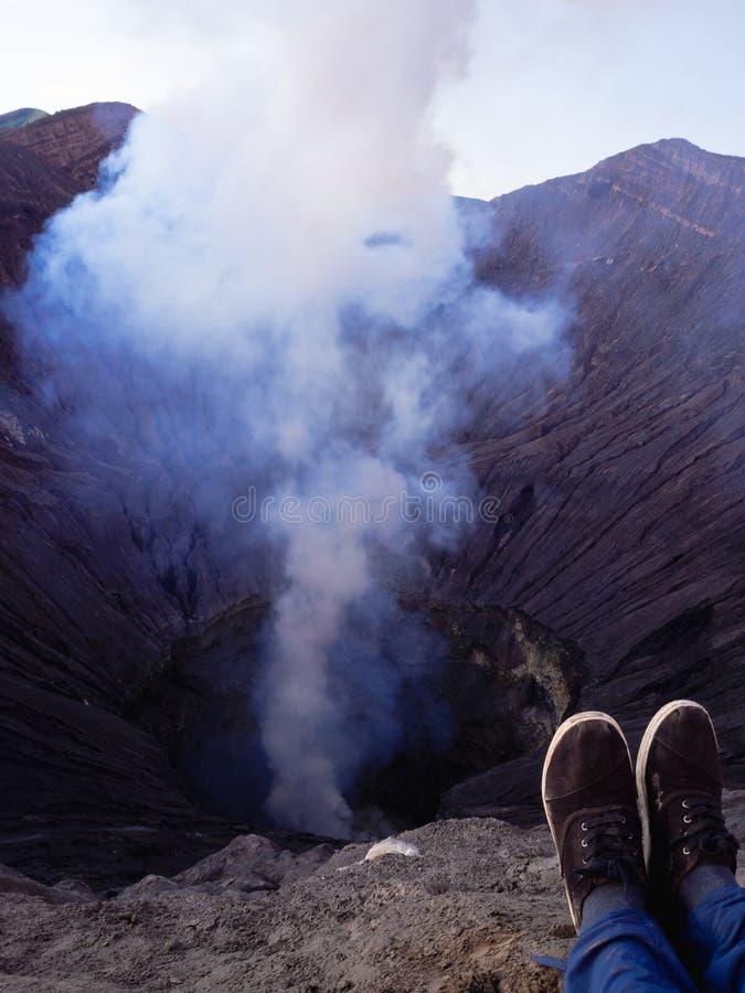 Krater van Mt Bromo een vulkaan in Java, Indonesië royalty-vrije stock afbeelding