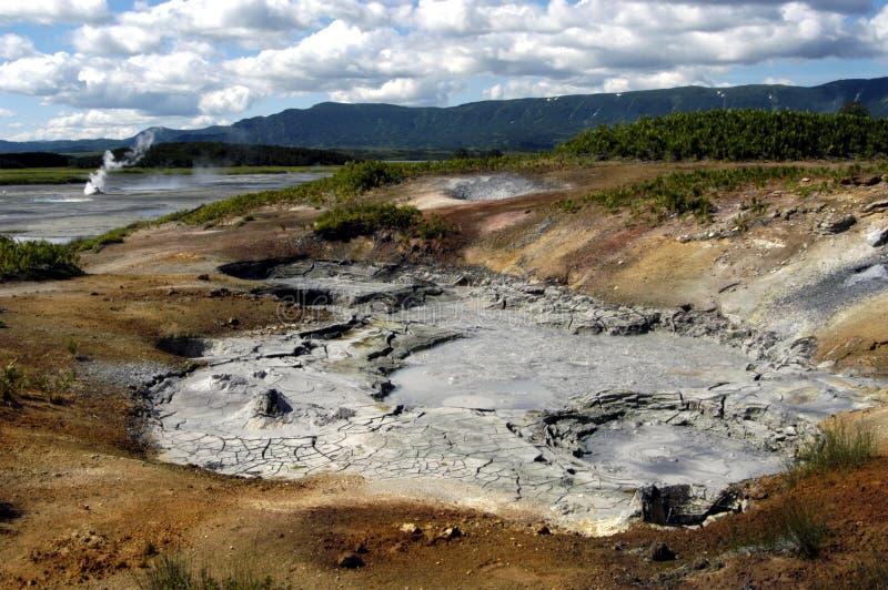 Krater van vulkaan Uzon royalty-vrije stock fotografie