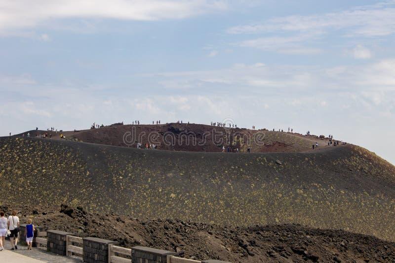 Krater von Ätna in Sizilien 08/08/2018 stockbild