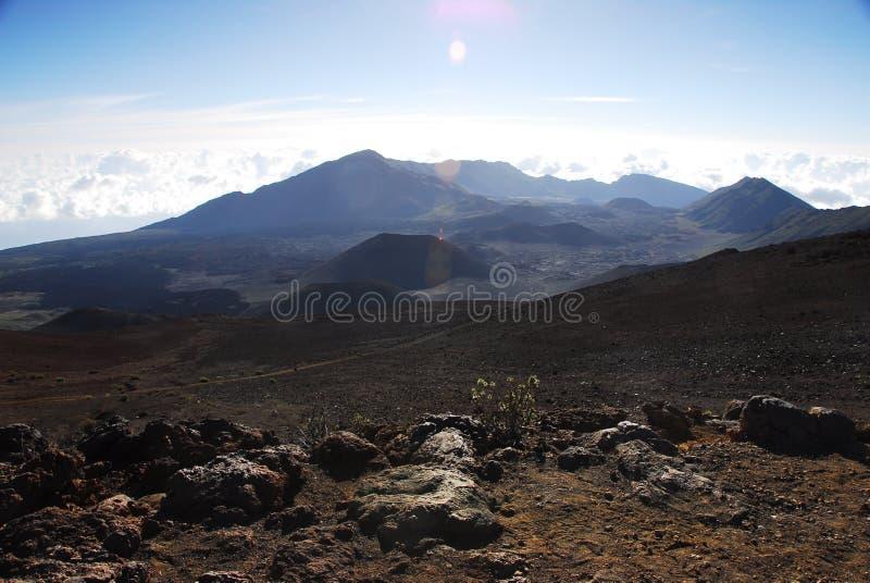 Kraters bij Nationaal Park Haleakala stock foto's