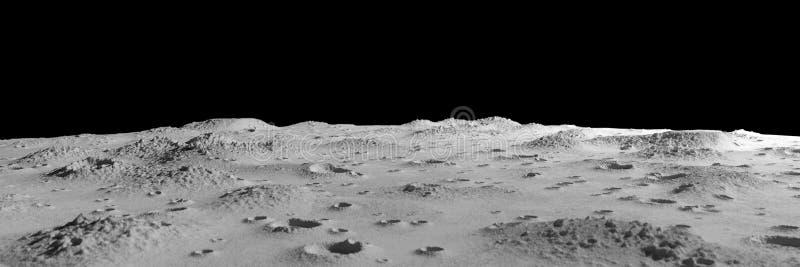 Kraters op het maan panoramische landschap royalty-vrije illustratie