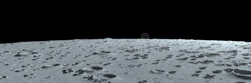 Kraters op het maan panoramische landschap stock foto