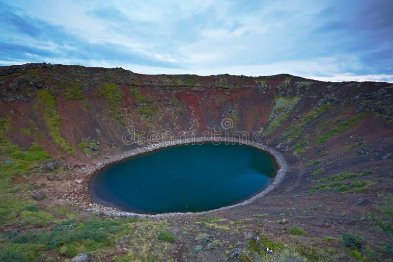krateru Iceland kerid jezioro powulkaniczny obrazy stock