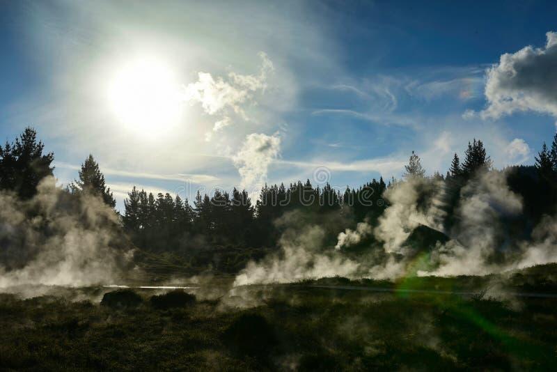 Kratery księżyc geotermiczny krajobraz w Nowa Zelandia fotografia royalty free