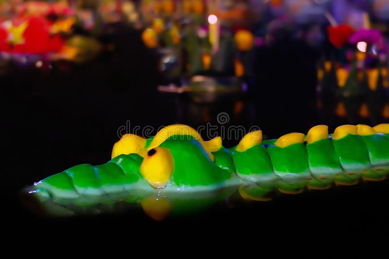 Krathong bread Crocodile Shape green is float on the surface water night time in Loy krathong festival, Krathong bread Crocodile royalty free stock photography