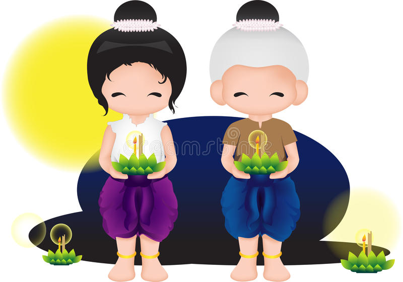 Krathong di Loy royalty illustrazione gratis