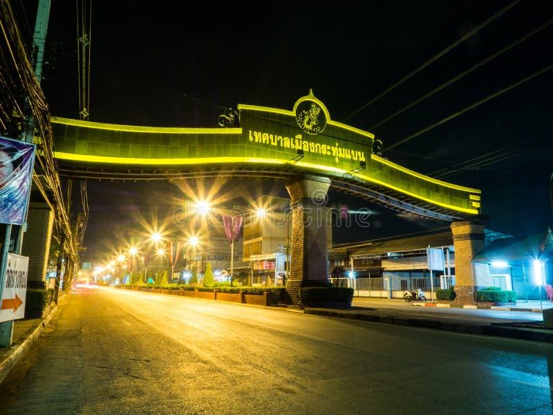 KrathumBaen在晚上在泰国 免版税库存图片