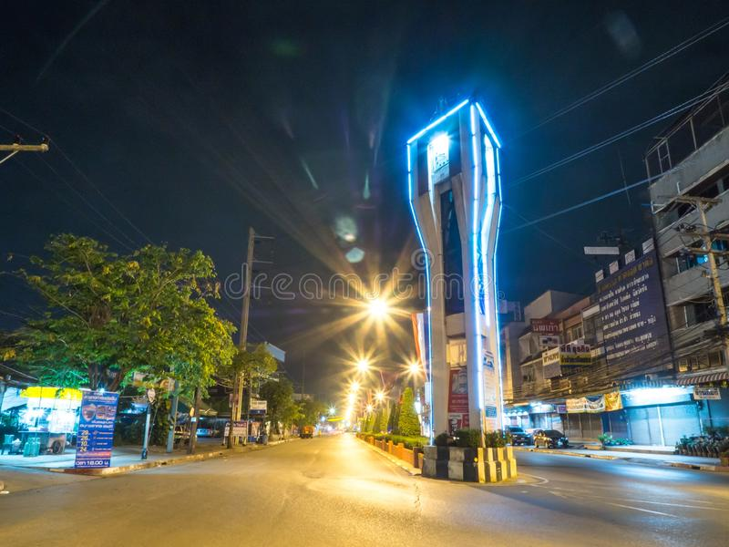KrathumBaen en la noche en Tailandia fotografía de archivo libre de regalías