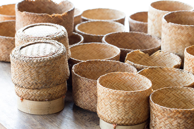 KRATIP, thai laos bamboo sticky rice container, this is the classic rice container for thai people in the northeast of Thailand. stock photo