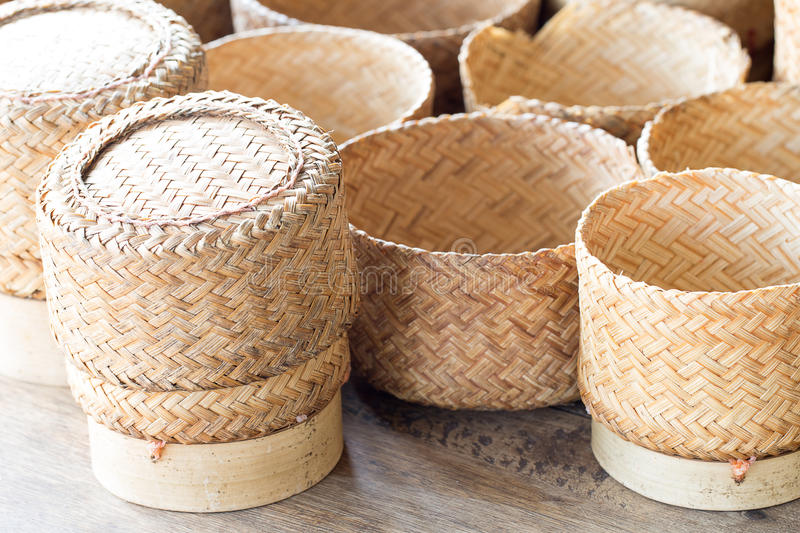 KRATIP, thai laos bamboo sticky rice container, this is the classic rice container for thai people in the northeast of Thailand. stock images
