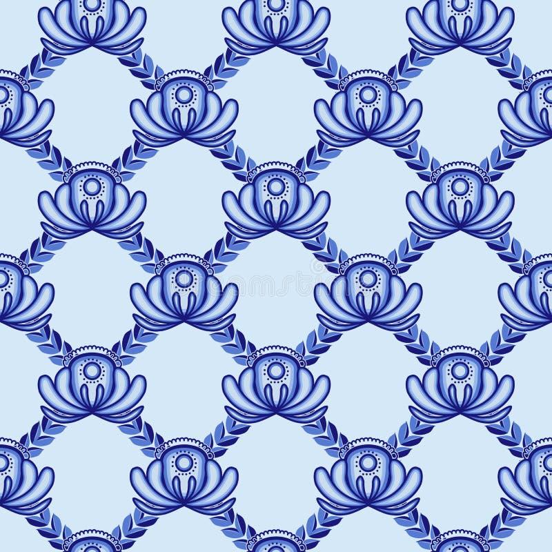 Kratownica od błękitów liści i kwiatów Bezszwowy wzór w Gzhel stylu royalty ilustracja