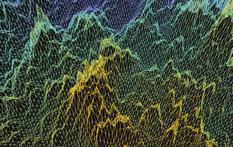 Kratownicy struktura Nauki lub technologii t?o 3D siatki powierzchnia abstrakcjonistyczna wektorowa ilustracja royalty ilustracja