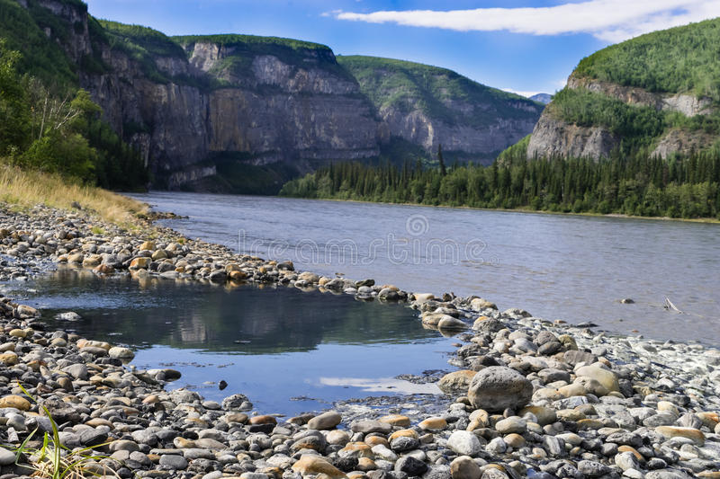 Kraus Hot Springs pool. South Nahanni river, Nahanni National Park Reserve, Northwest Territories,Canada stock photos