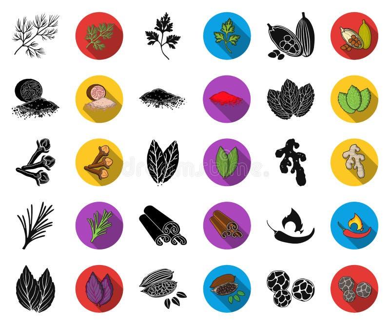 Kraut und Gewürze schwarz, flache Ikonen in gesetzter Sammlung für Entwurf Verschiedene Arten von Gewürzen vector Netz des Symbol vektor abbildung