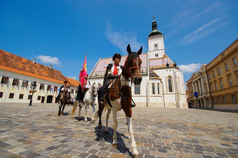 Kravat regemente, Zagreb, Kroatien royaltyfri fotografi