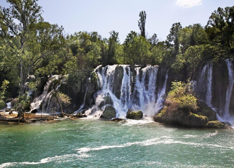Kravice nedgångar i Ljubuski stämma överens områdesområden som Bosnien gemet färgade greyed herzegovina inkluderar viktigt, plane royaltyfri bild