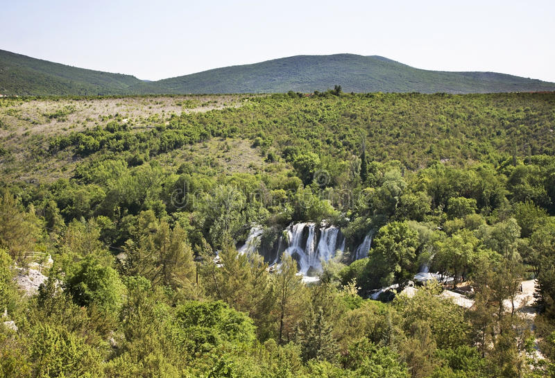 Kravice nedgångar i Ljubuski stämma överens områdesområden som Bosnien gemet färgade greyed herzegovina inkluderar viktigt, plane arkivfoto