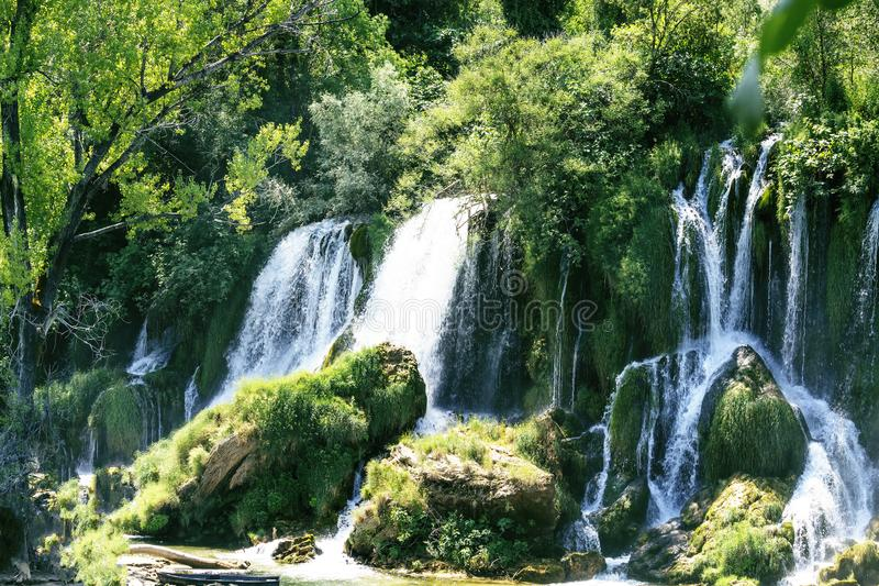 Kravice waterfall on the Trebizat River in Bosnia and Herzegovina.  Miracle of Nature in Bosnia and Herzegovina. The Kravice water. Falls, originally known as stock photo
