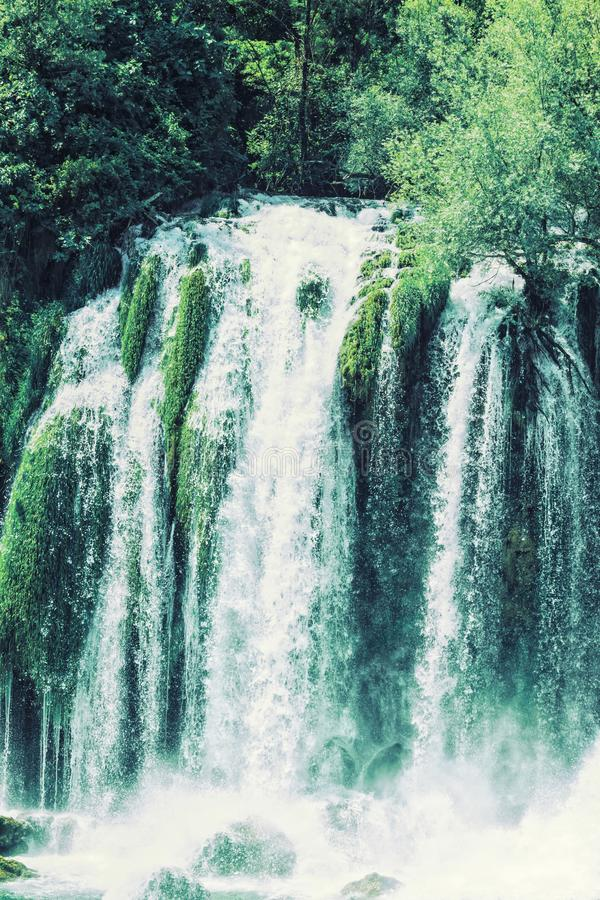 Kravice waterfall on the Trebizat River in Bosnia and Herzegovina.  Miracle of Nature in Bosnia and Herzegovina. The Kravice water. Falls, originally known as royalty free stock photo