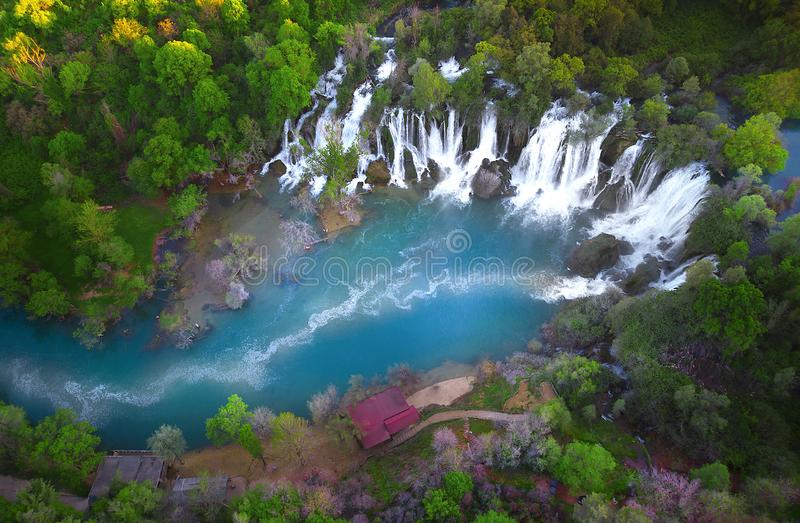 Kravice waterfalls in Bosnia Herzegovina. Kravica waterfall, often erroneously called Kravice, is a large water cascade on the Trebizat River, in the karst royalty free stock images