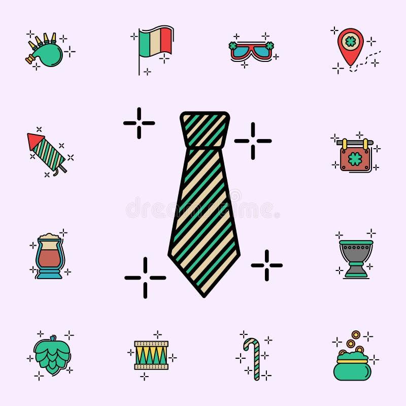 Krawat, zielona ikona StPatricks dnia ikon og?lnoludzki ustawiaj?cy dla sieci i wisz?cej ozdoby ilustracja wektor