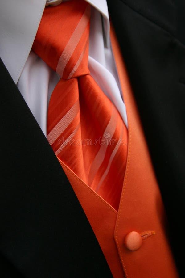 krawata pomarańczowy tux zdjęcie stock
