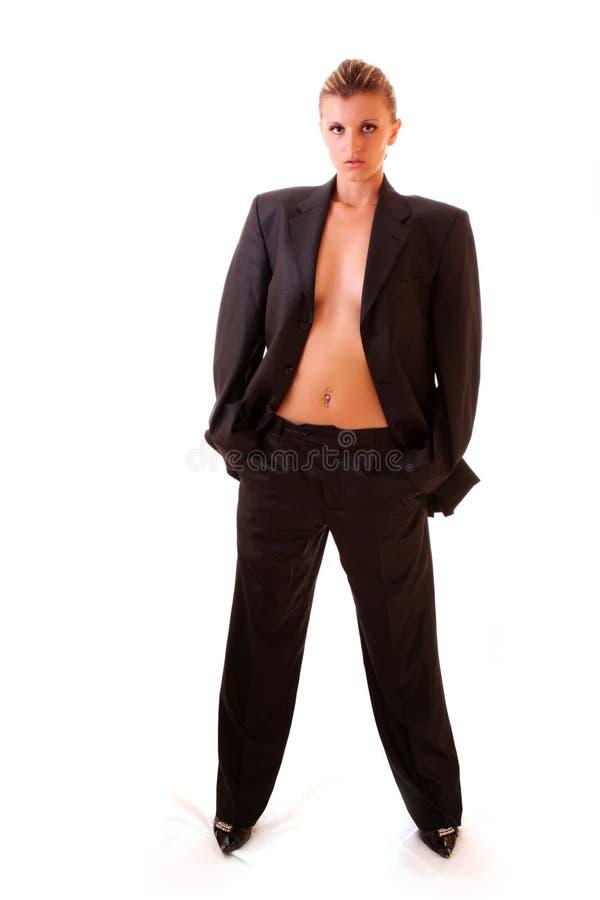 Krawattenfrau in der Büroklage lizenzfreies stockfoto
