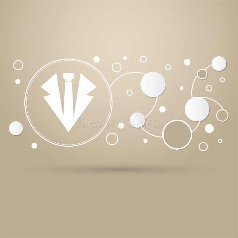 Krawattenikone auf einem braunen Hintergrund mit eleganter Art und modernen dem Design infographic vektor abbildung