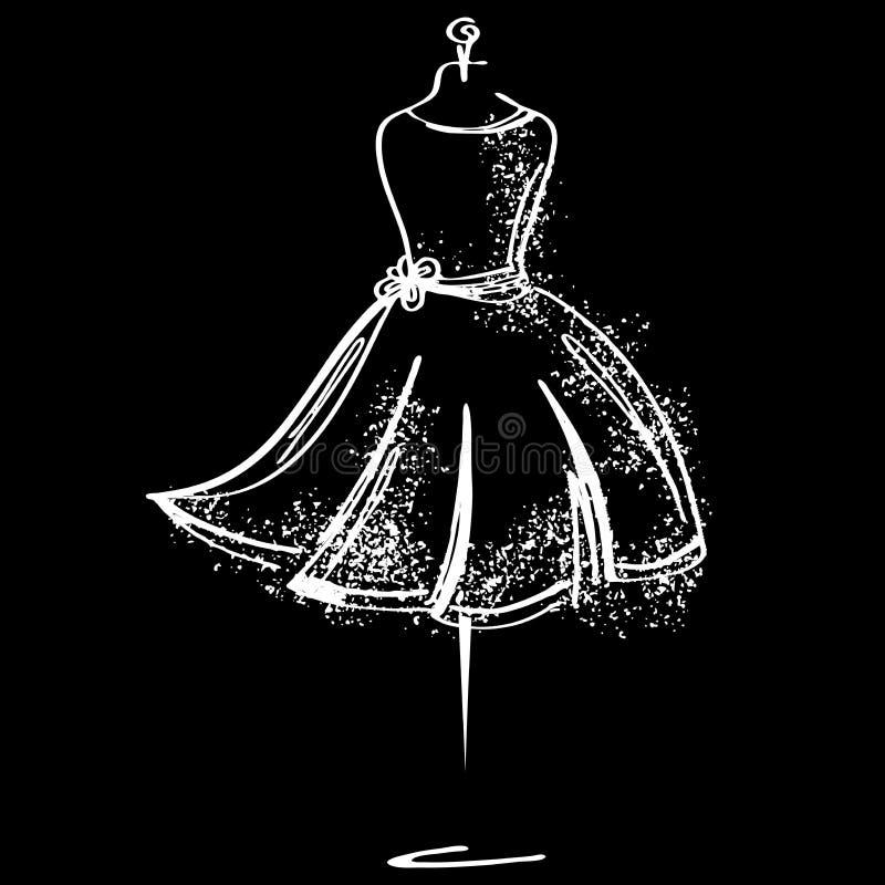 Krawiecka atrapy mody ikona na białym tle Atelier, projektant, konstruktor, krawcowa przedmiot Czarny moda symbol, sylwetka ilustracji