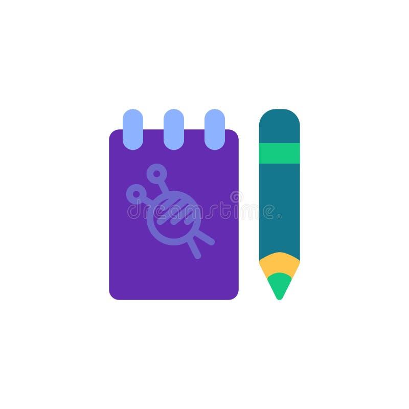 Krawiecka notepad i pióra mieszkania ikona royalty ilustracja