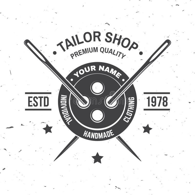 Krawiecka sklepowa odznaka wektor Pojęcie dla koszula, druku, stemplowej etykietki lub trójnika, Rocznik typografii projekt z szw ilustracji