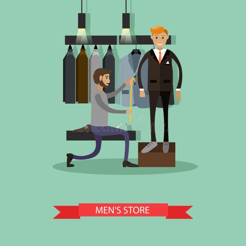 Krawiecki mierzący jego mężczyzna klienta robić obyczajowemu kostiumowi Mężczyzna mody pojęcie Wektorowy ilustracyjny sztandar w  ilustracji