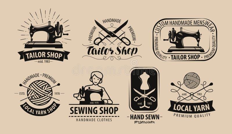 Krawiecki sklep, przędza logo lub etykietka, Krawiectwa pojęcie również zwrócić corel ilustracji wektora ilustracji