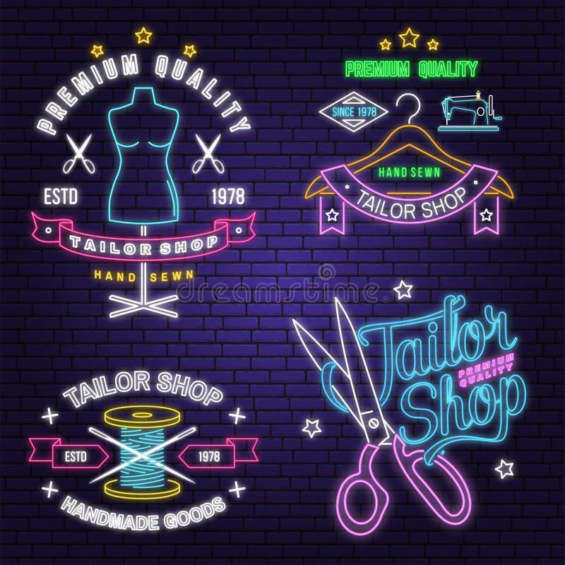 Krawiecki sklepowy neonowy projekt lub emblemat wektor Nocy neonowy signboard Rocznik typografii projekt z szwalną igłą i cewą ilustracji