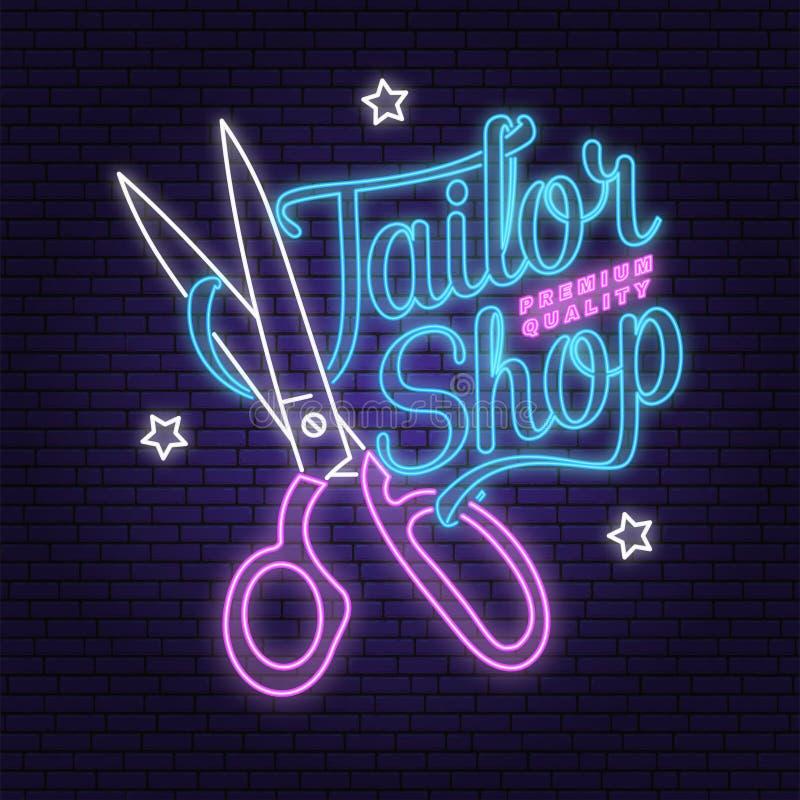 Krawiecki sklepowy neonowy projekt lub emblemat wektor Typografia projekt z nożyce sylwetką dla szwalnego sklepowego biznesu retr royalty ilustracja